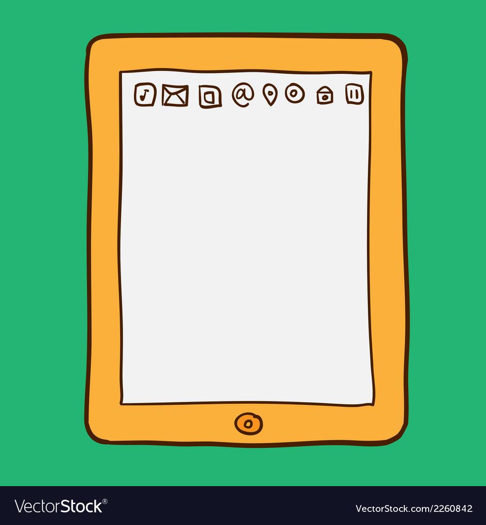 Digital tablet doodle style vector