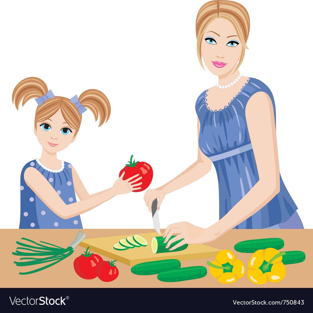 Daughter helps mum vector