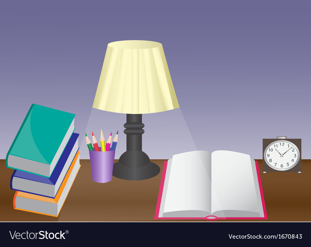 Desk with a variety of subjects vector