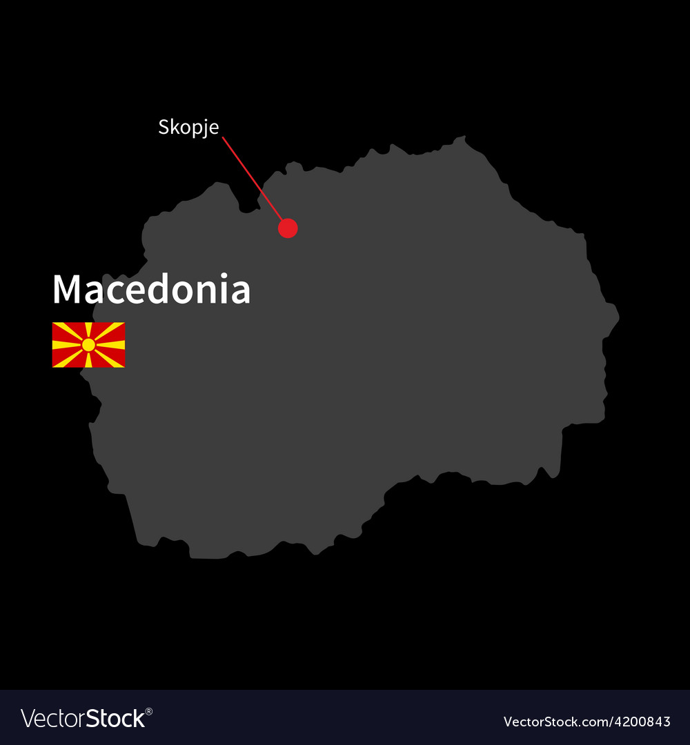 Detailed map of macedonia and capital city skopje vector