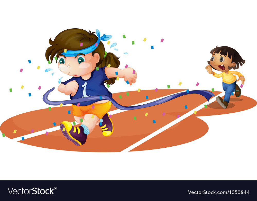 Girls on a race track vector