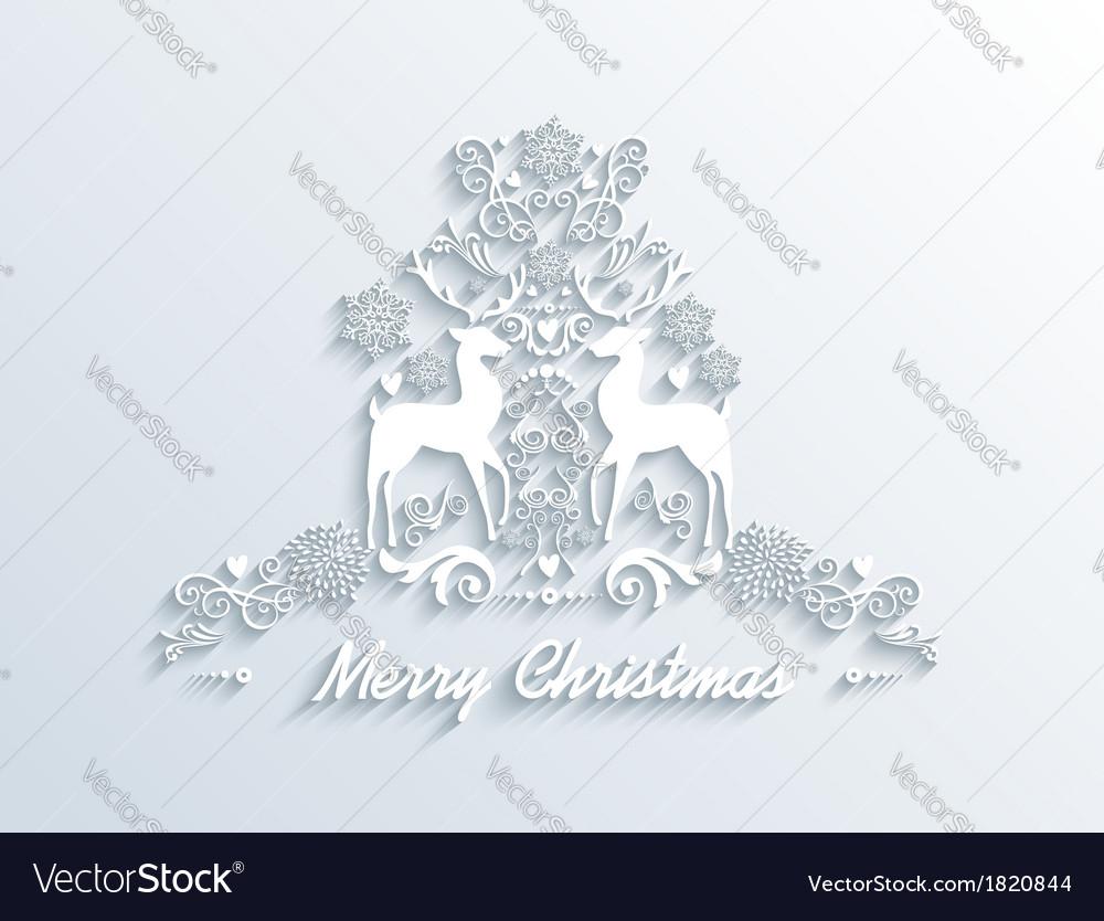 White merry christmas season greeting postcard vector