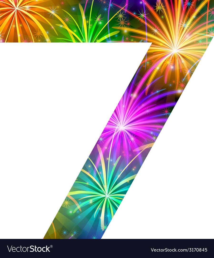 Number of colorful firework seven vector