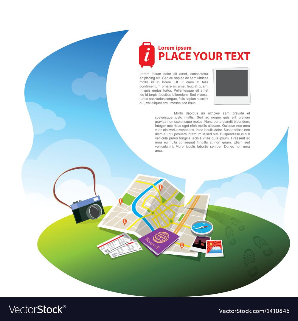 Travel kits with speech bubble vector