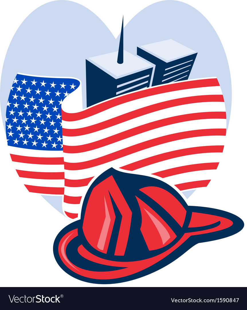 American flag with twin tower building firefighter vector