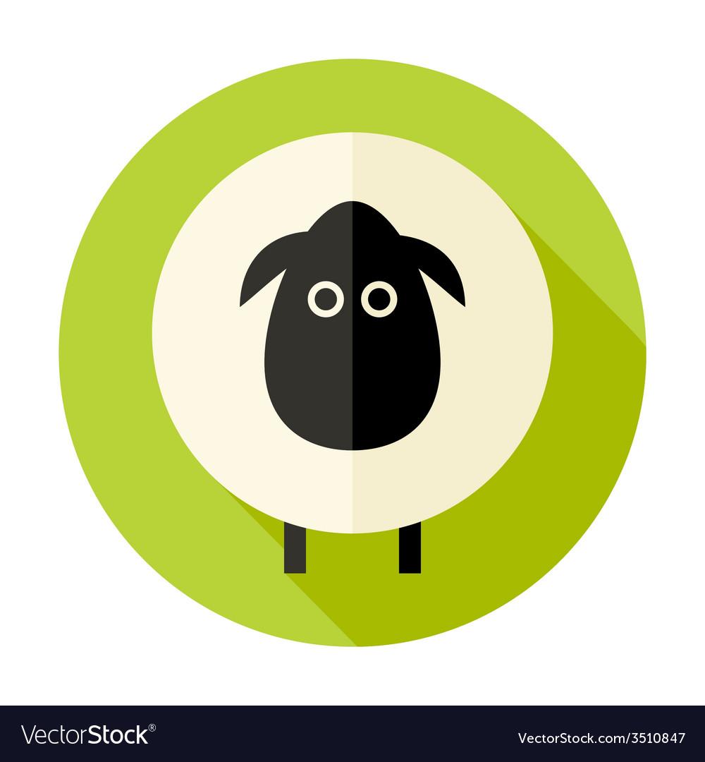 Sheep flat circle icon over green vector
