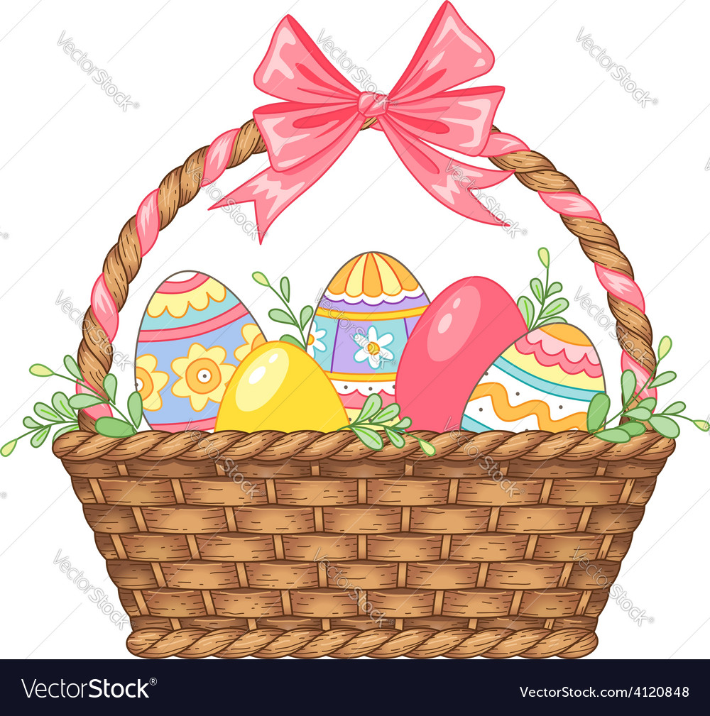 Basket easter isolated vector