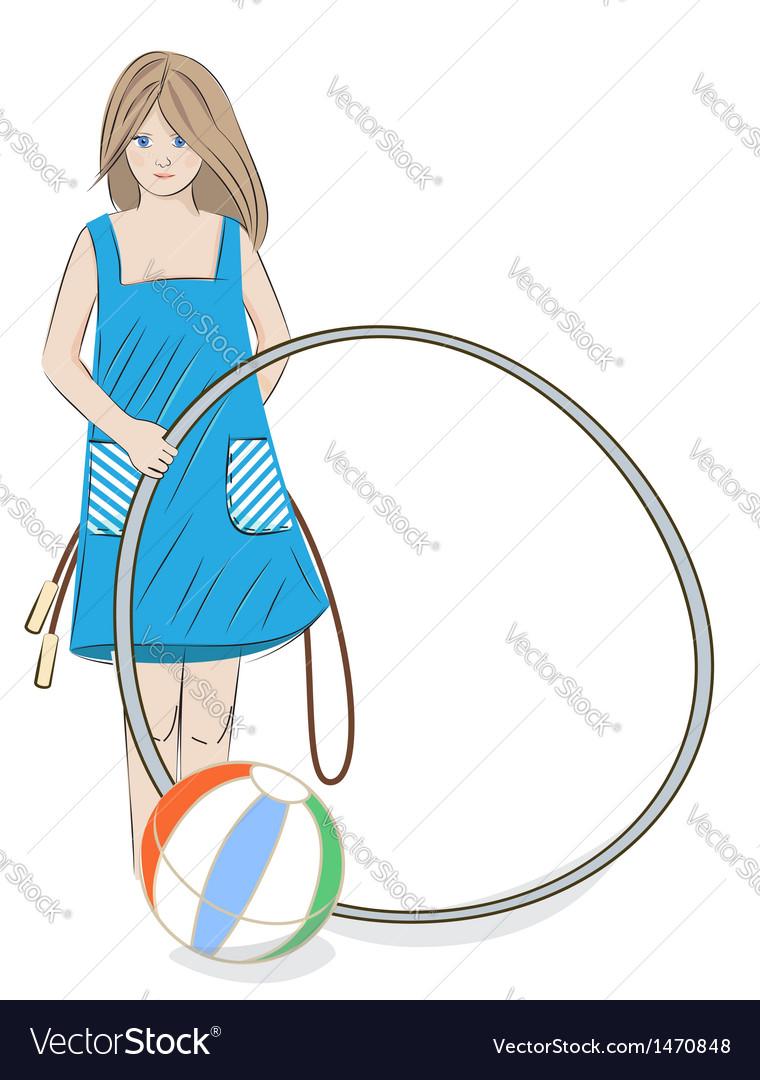 Girl with hula hoop beach ball and skipping rope vector