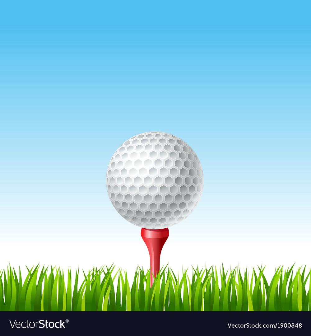 Golf ball on a tee on a grass vector