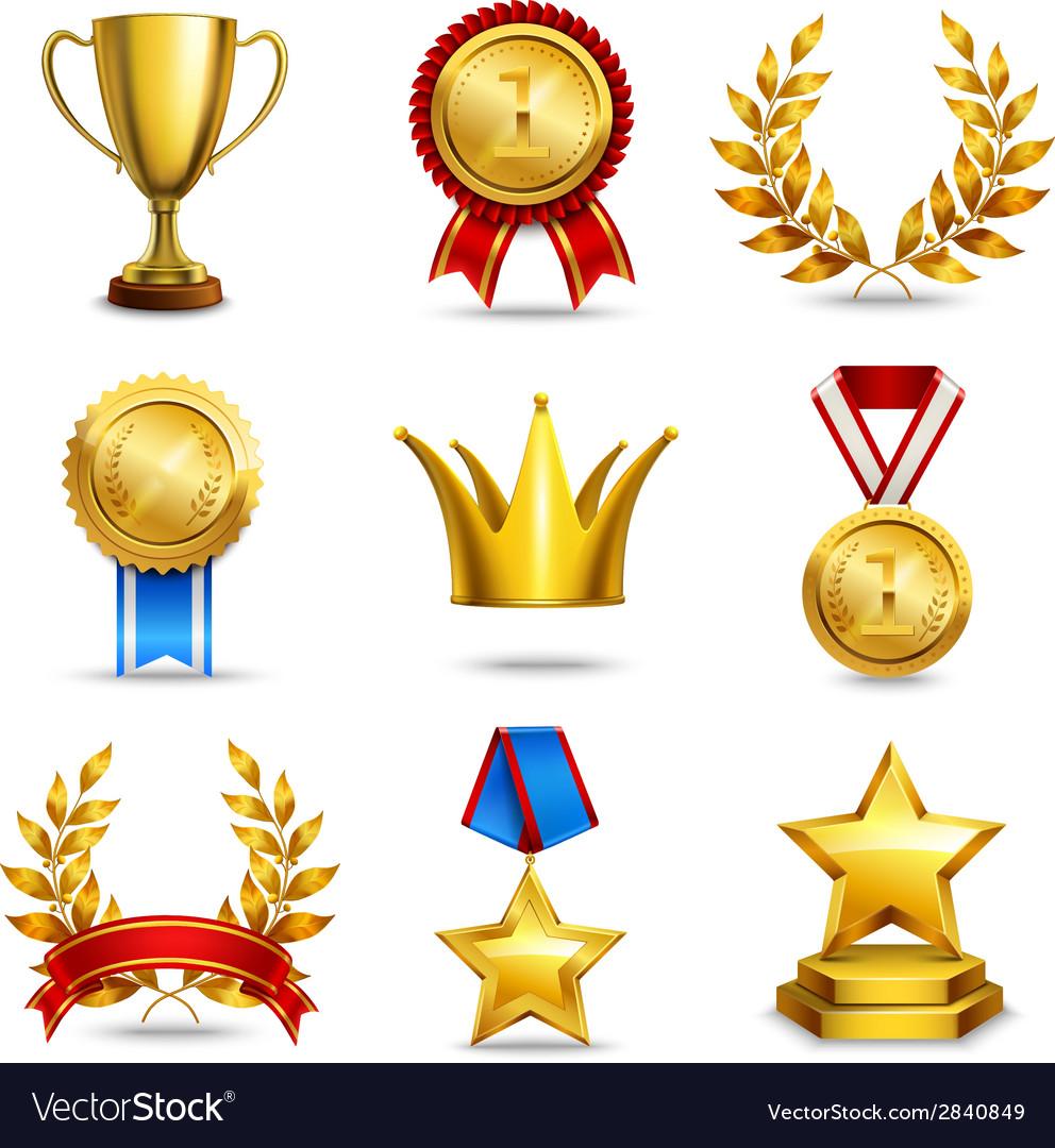 Realistic award icons set vector