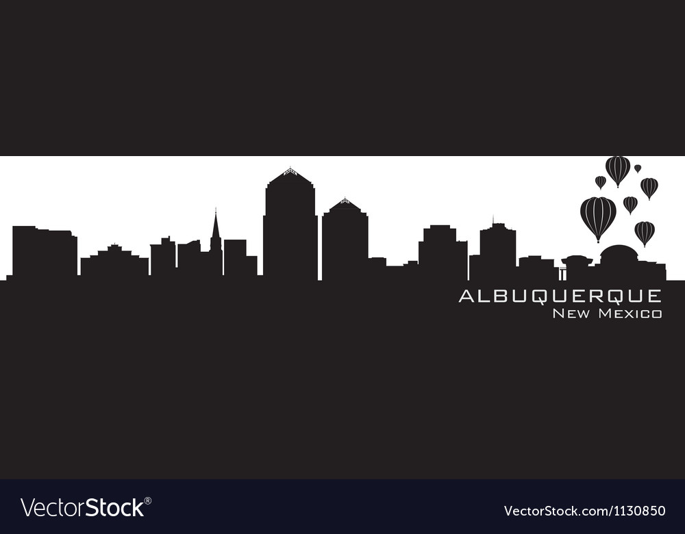 Albuquerque new mexico skyline detailed silhouette vector