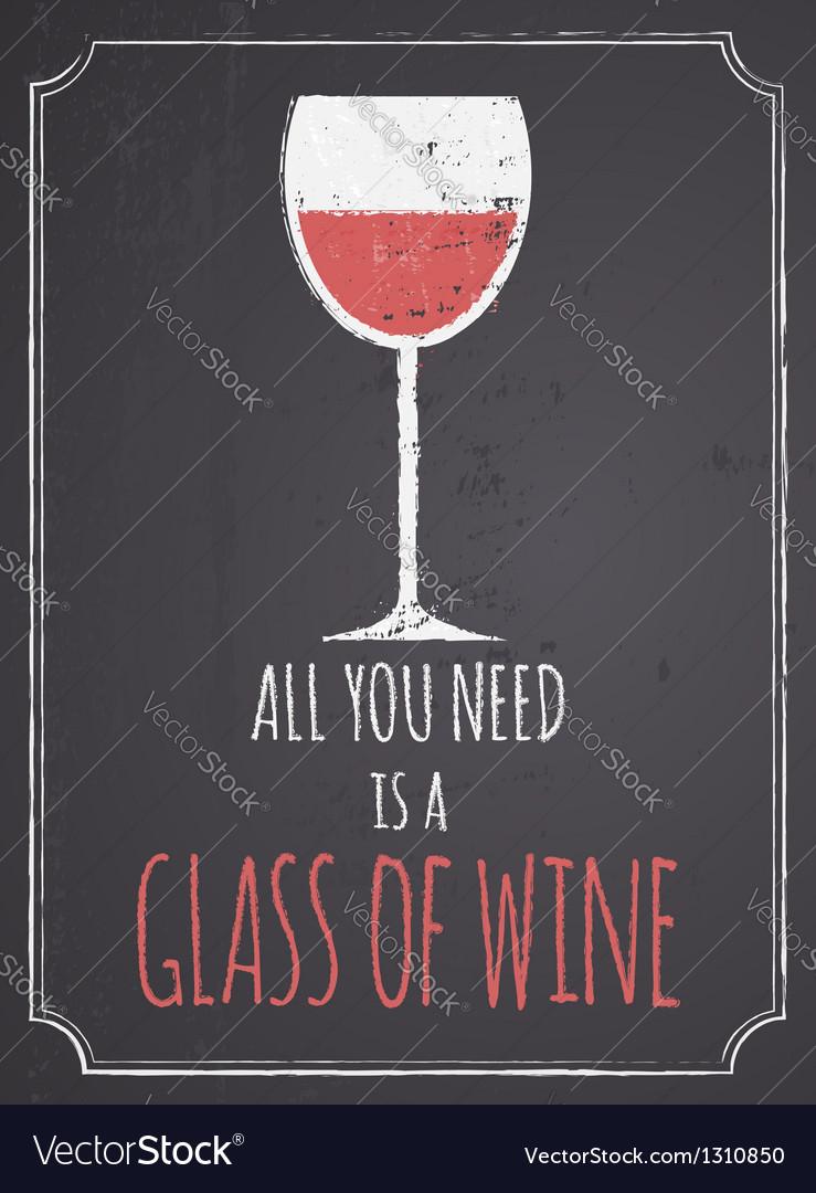 Chalkboard red wine design vector