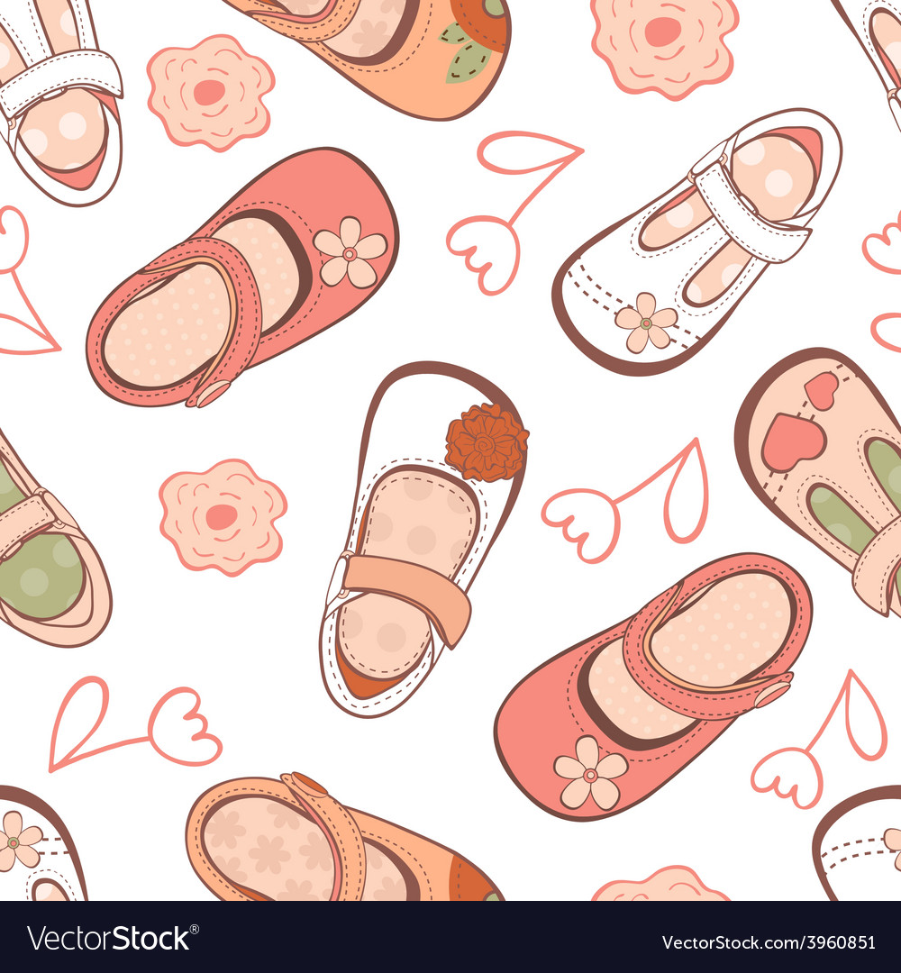 Baby girl shoes pattern vector