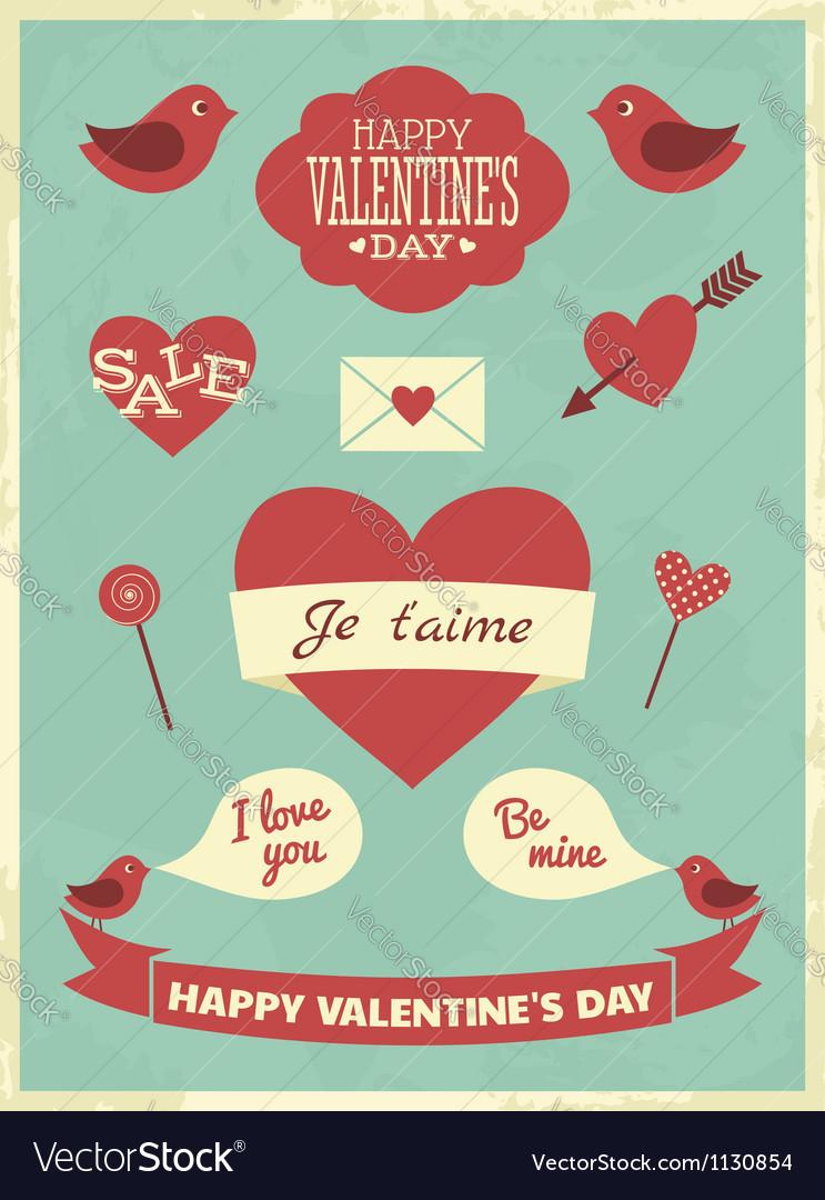 Valentines day retro collection vector