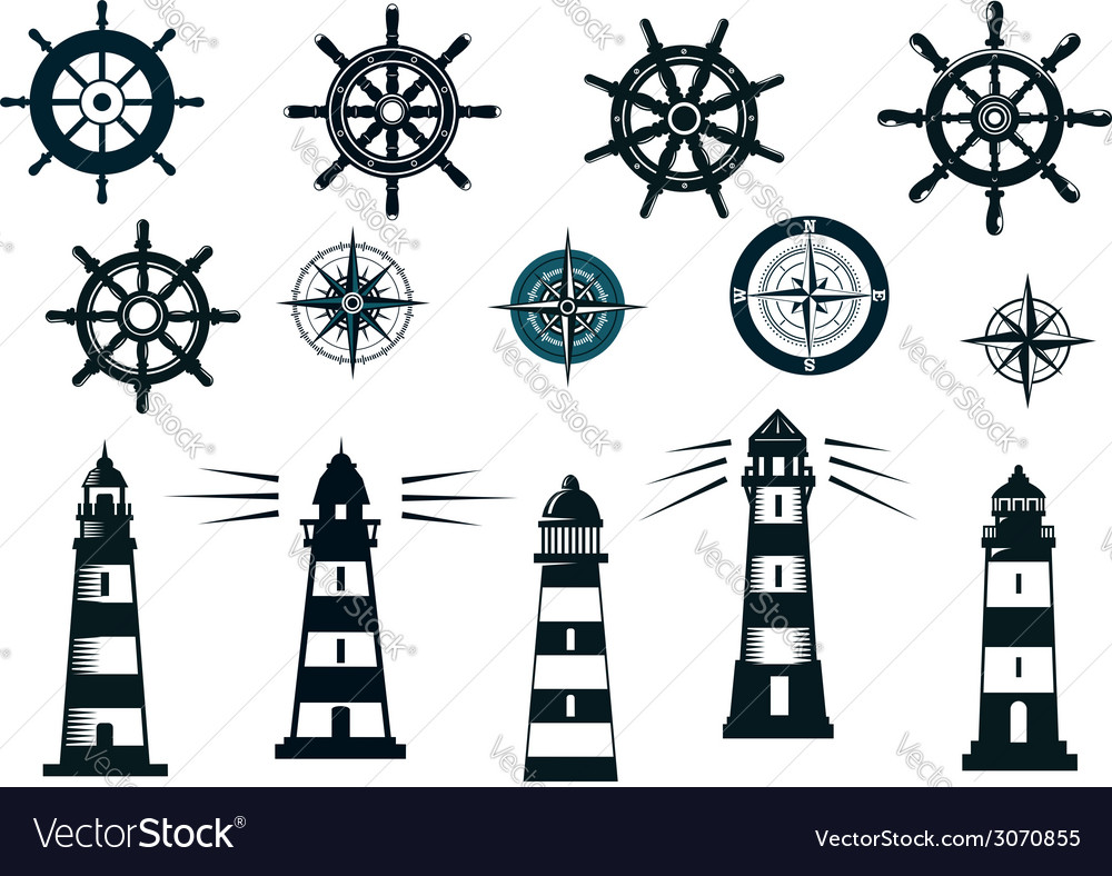 Set of marine or nautical themed icons vector