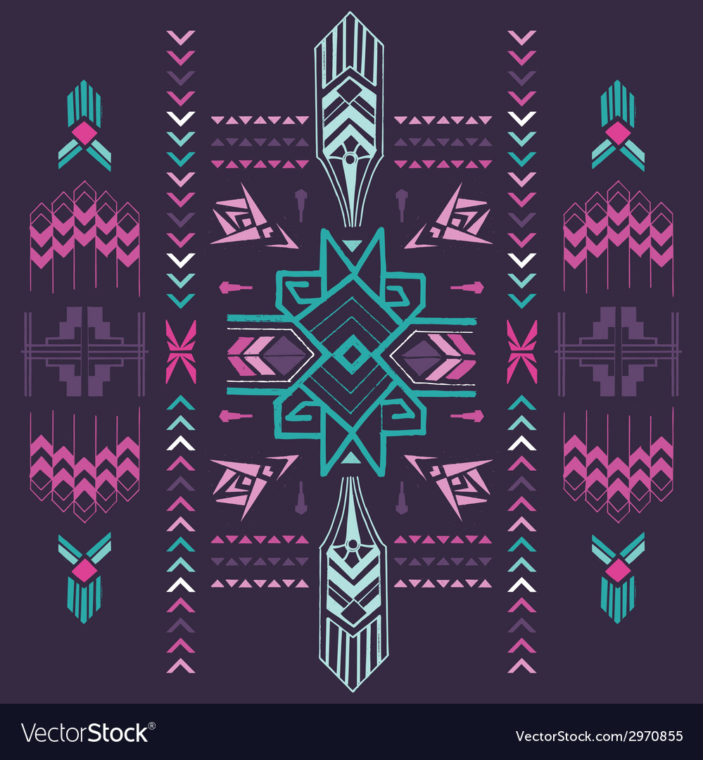 Tribal vintage aztec background - hand drawn vector