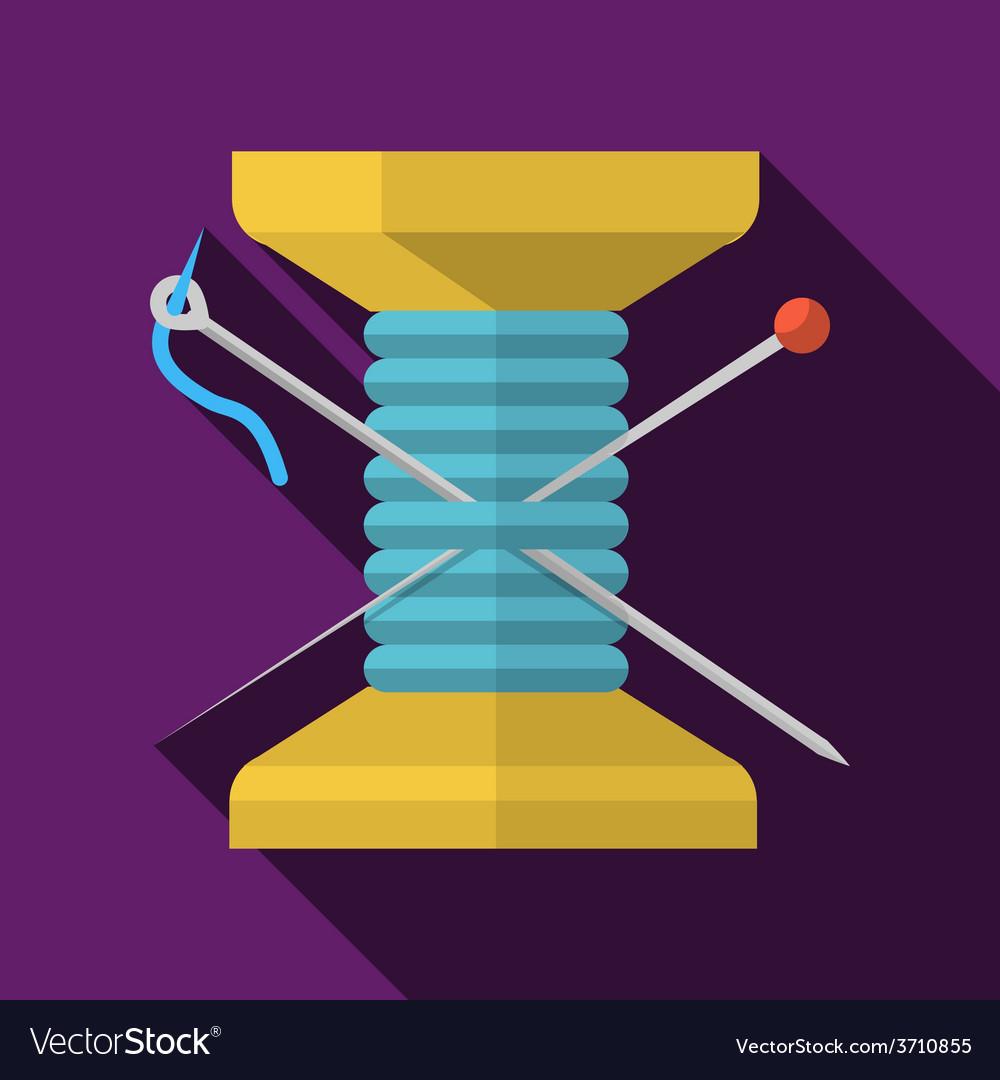 Wooden reel thread flat icon vector