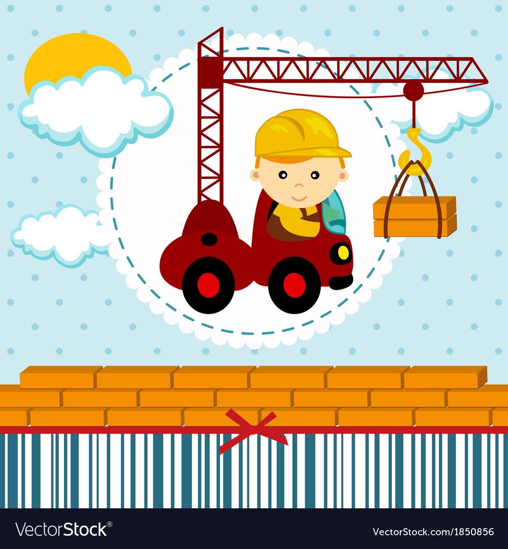 Baby boy builder vector