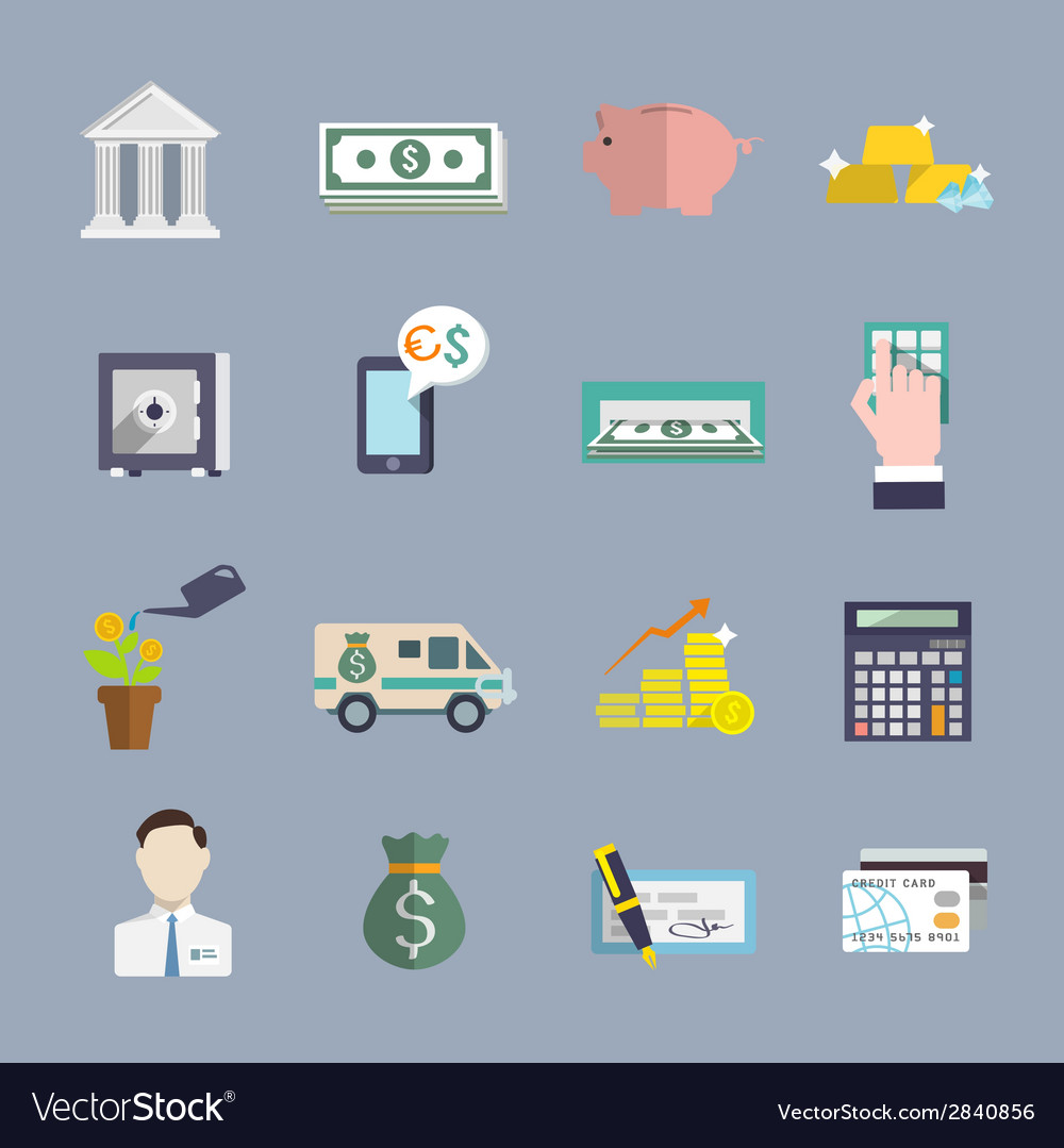 Bank service icons flat set vector