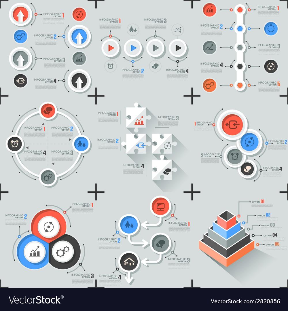 Set of 9 flat minimal infographics vector