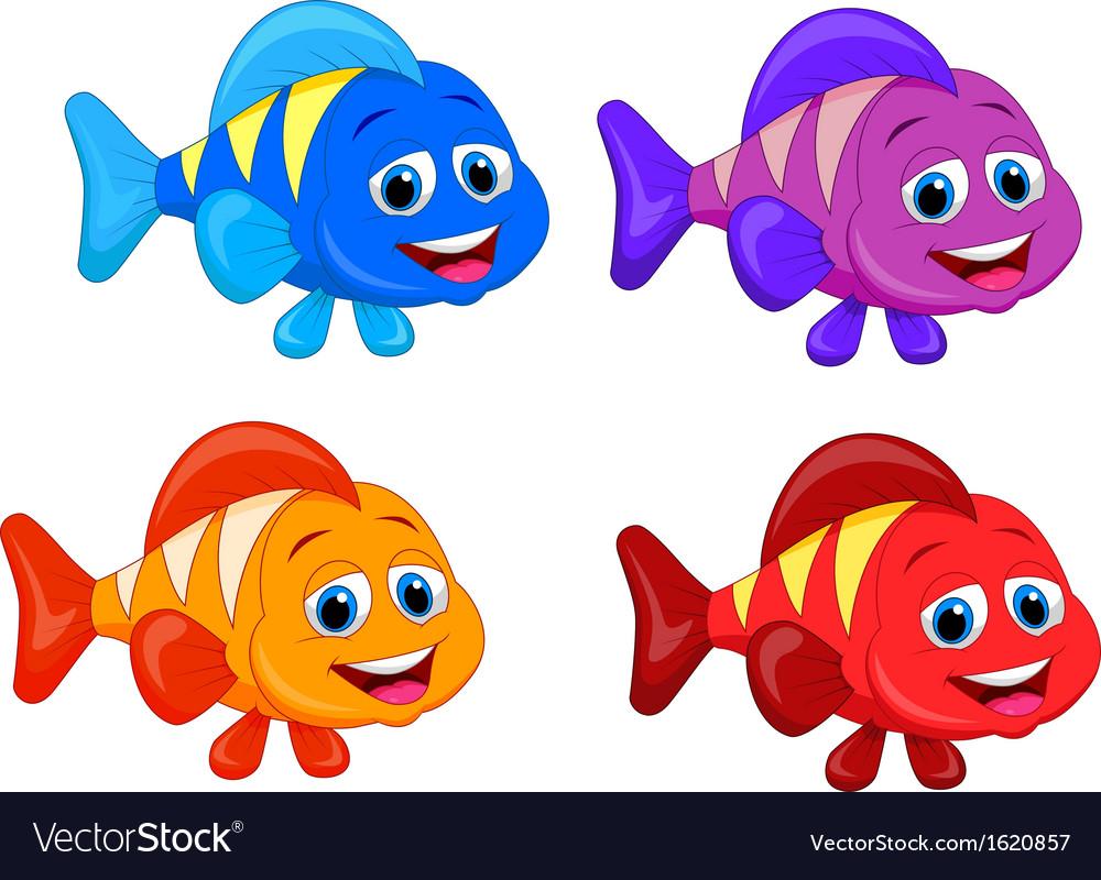Cute fish cartoon collection set vector