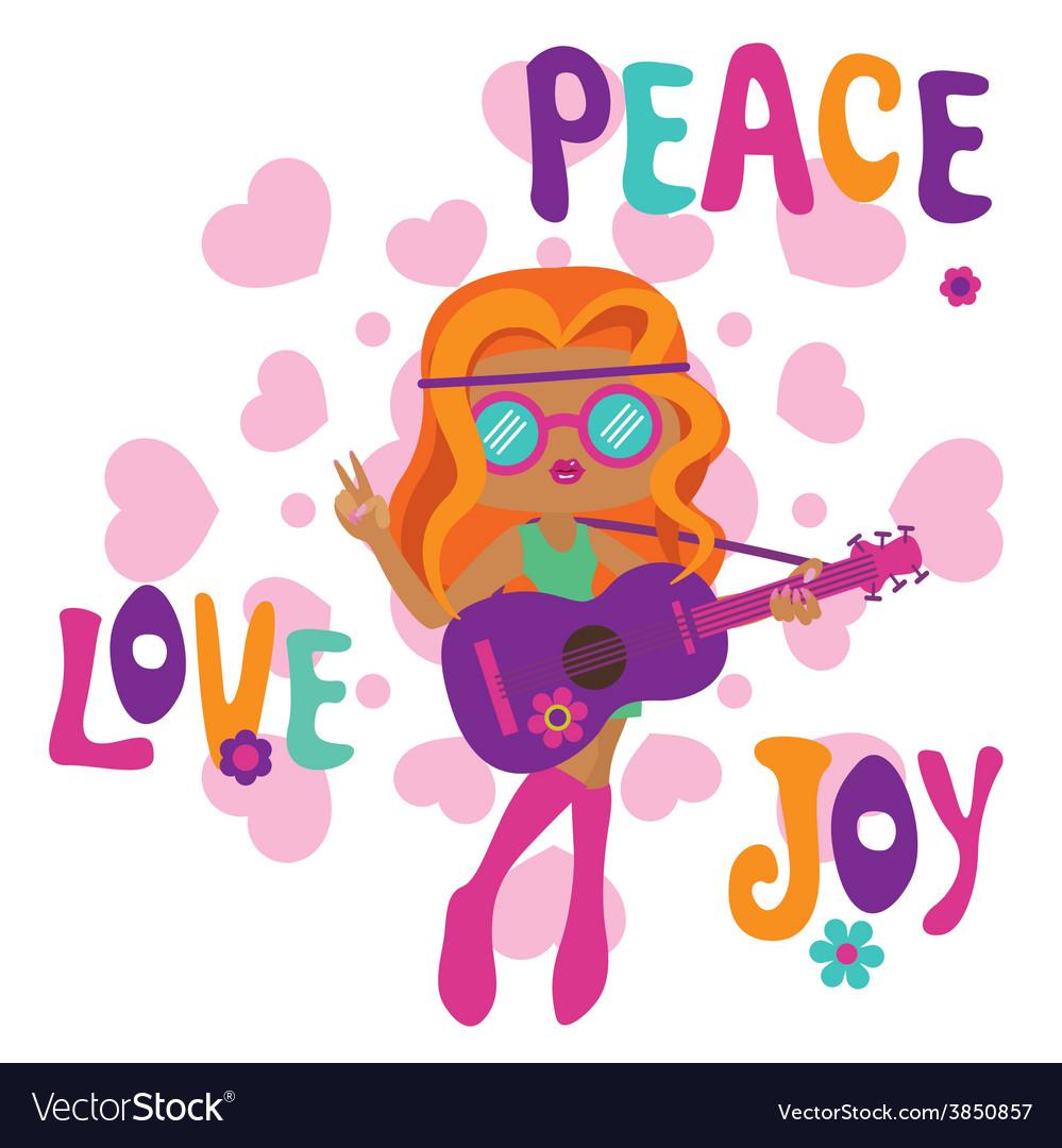 Hippie girl with guitar love peace and joy vector