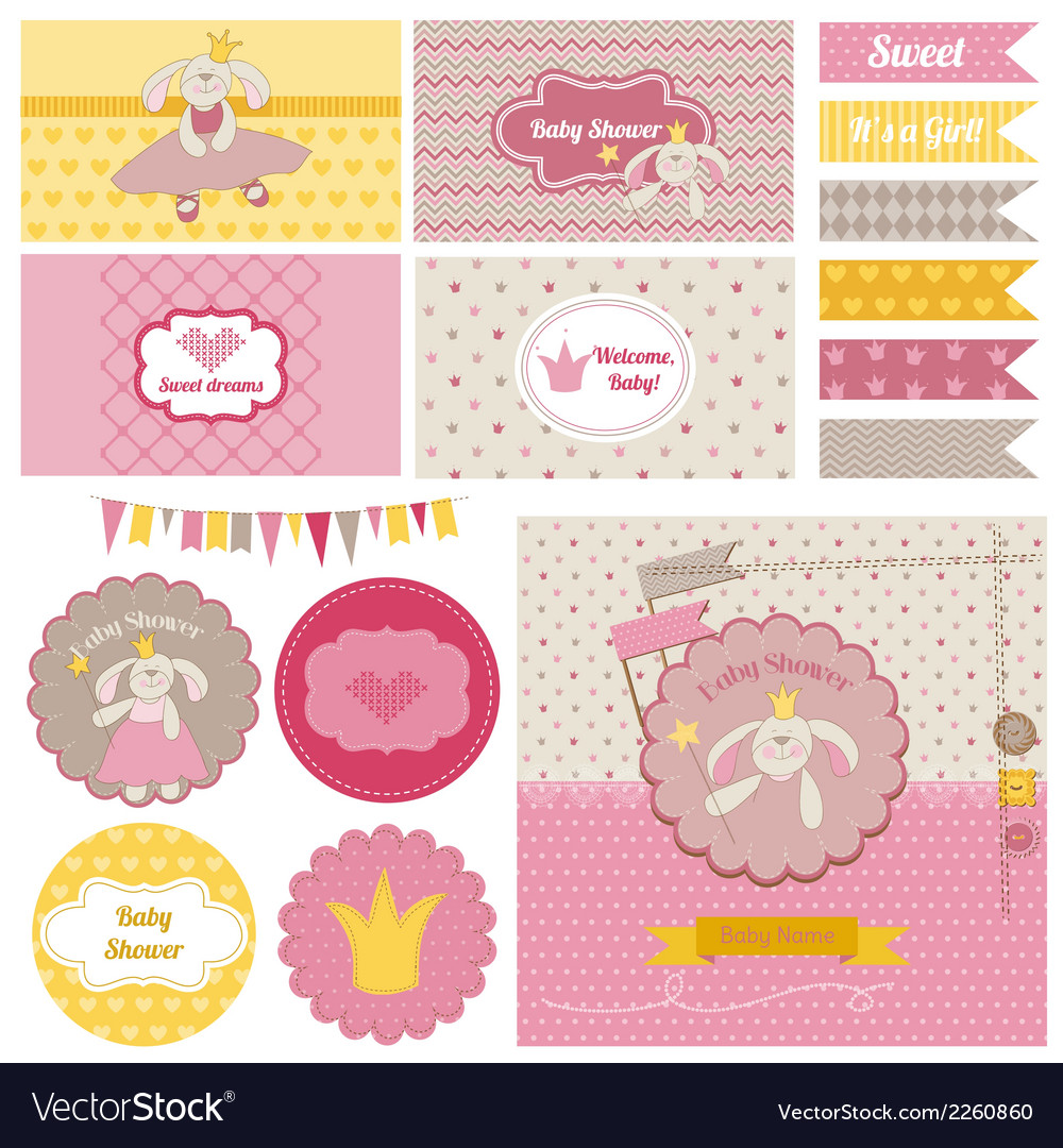Baby shower bunny party set vector