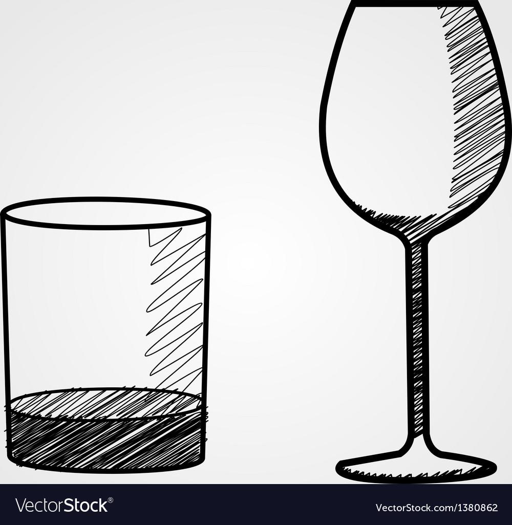 Hand drawn glasses vector