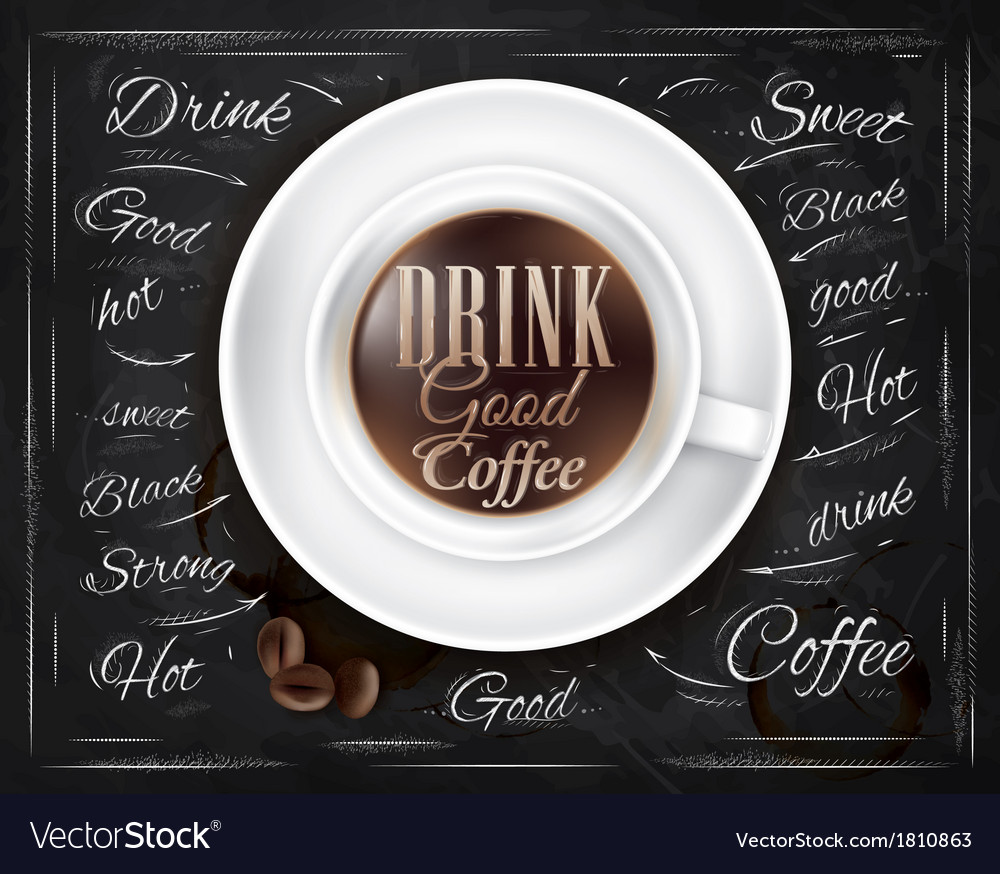 Cup coffee chalk vector
