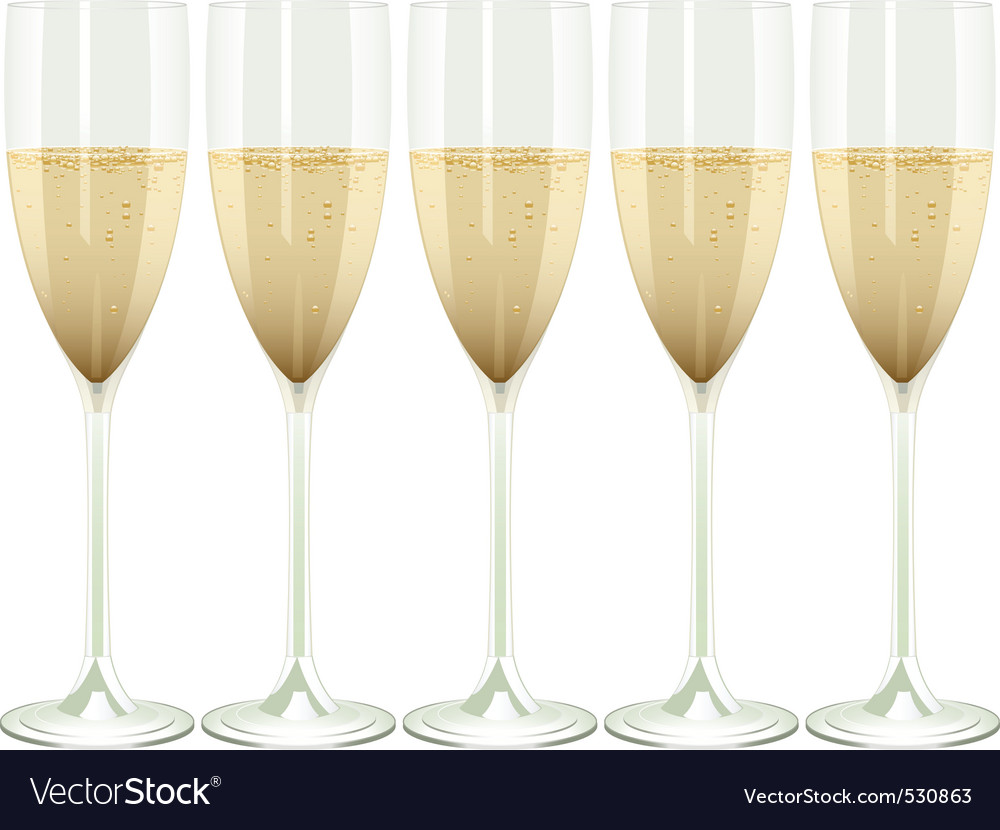Row of champagne flutes on a white background vector