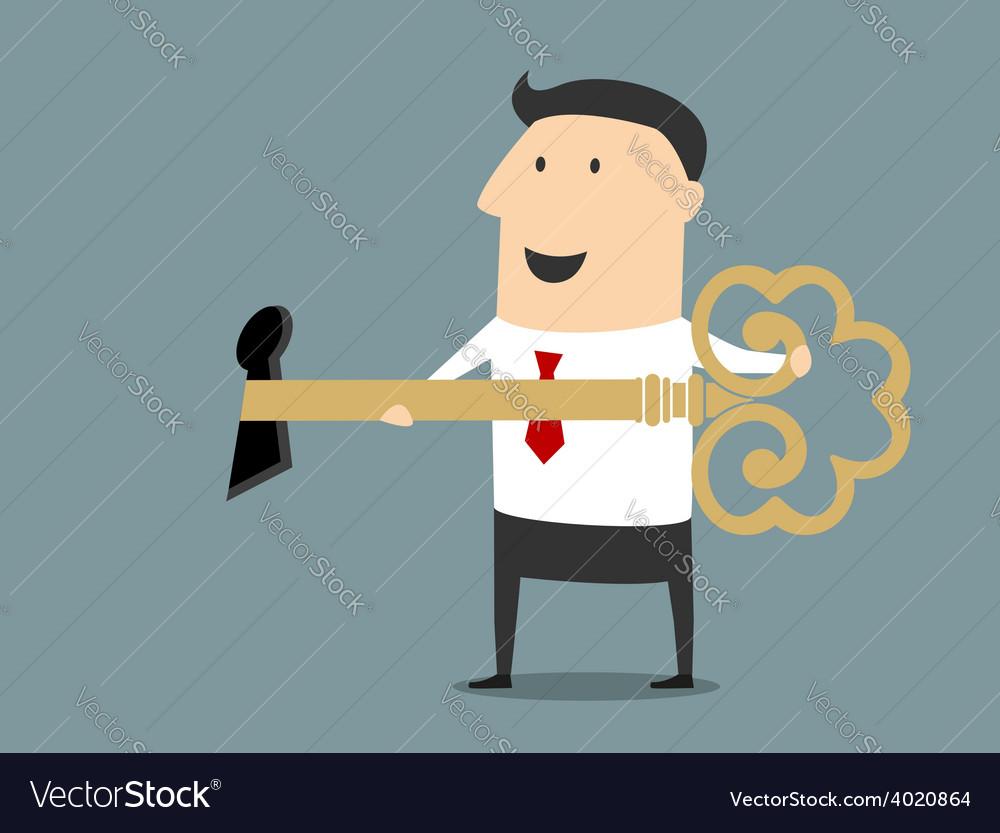 Smiling cartoon businessman opening the lock vector