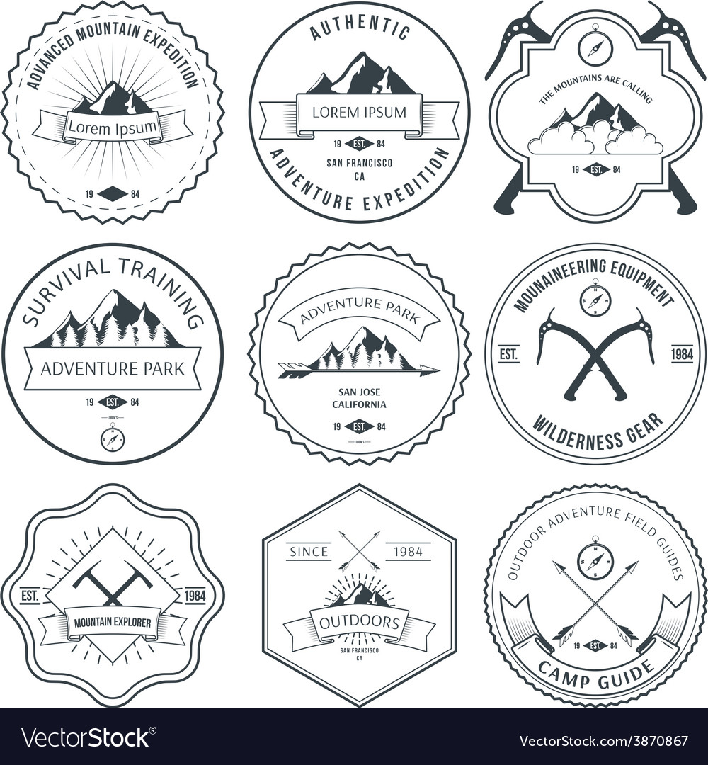 Camping mountain adventure hiking explorer vector