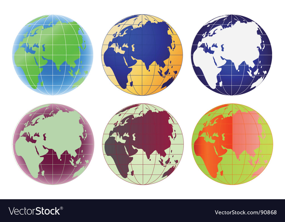 Globe europe and asia set vector