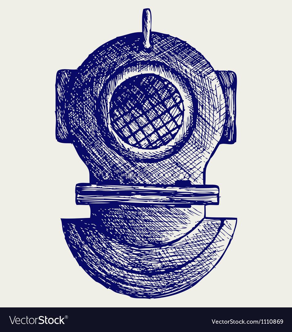 Old diving helmet vector