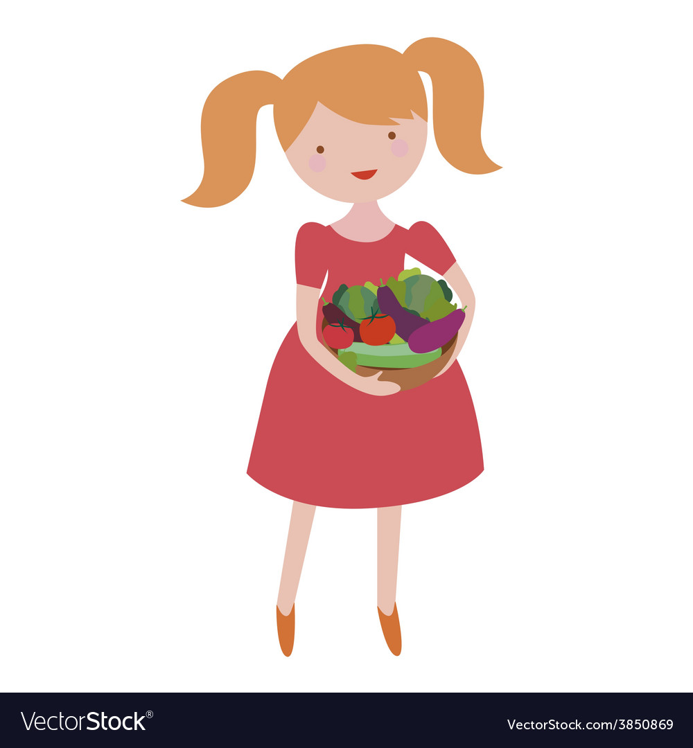 Young girl with vegetables vector