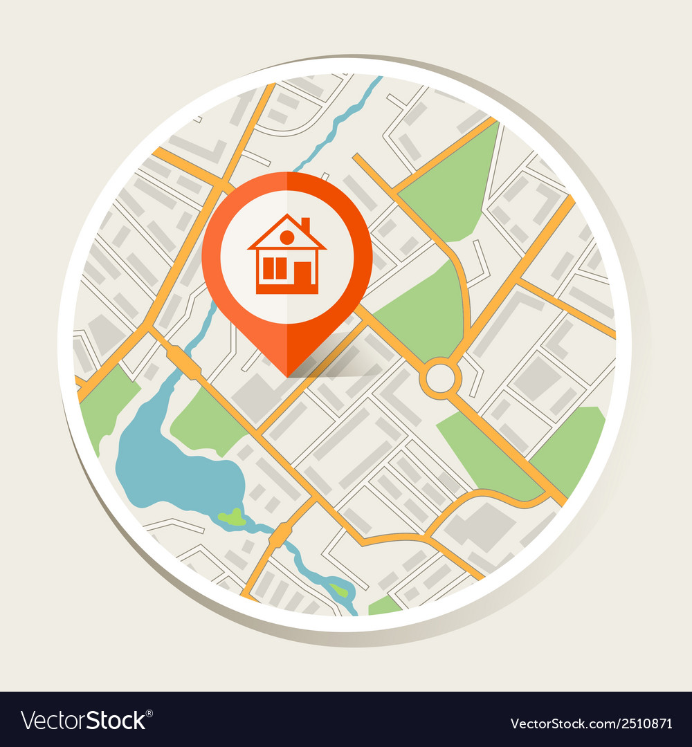 City map abstract background with marker home vector