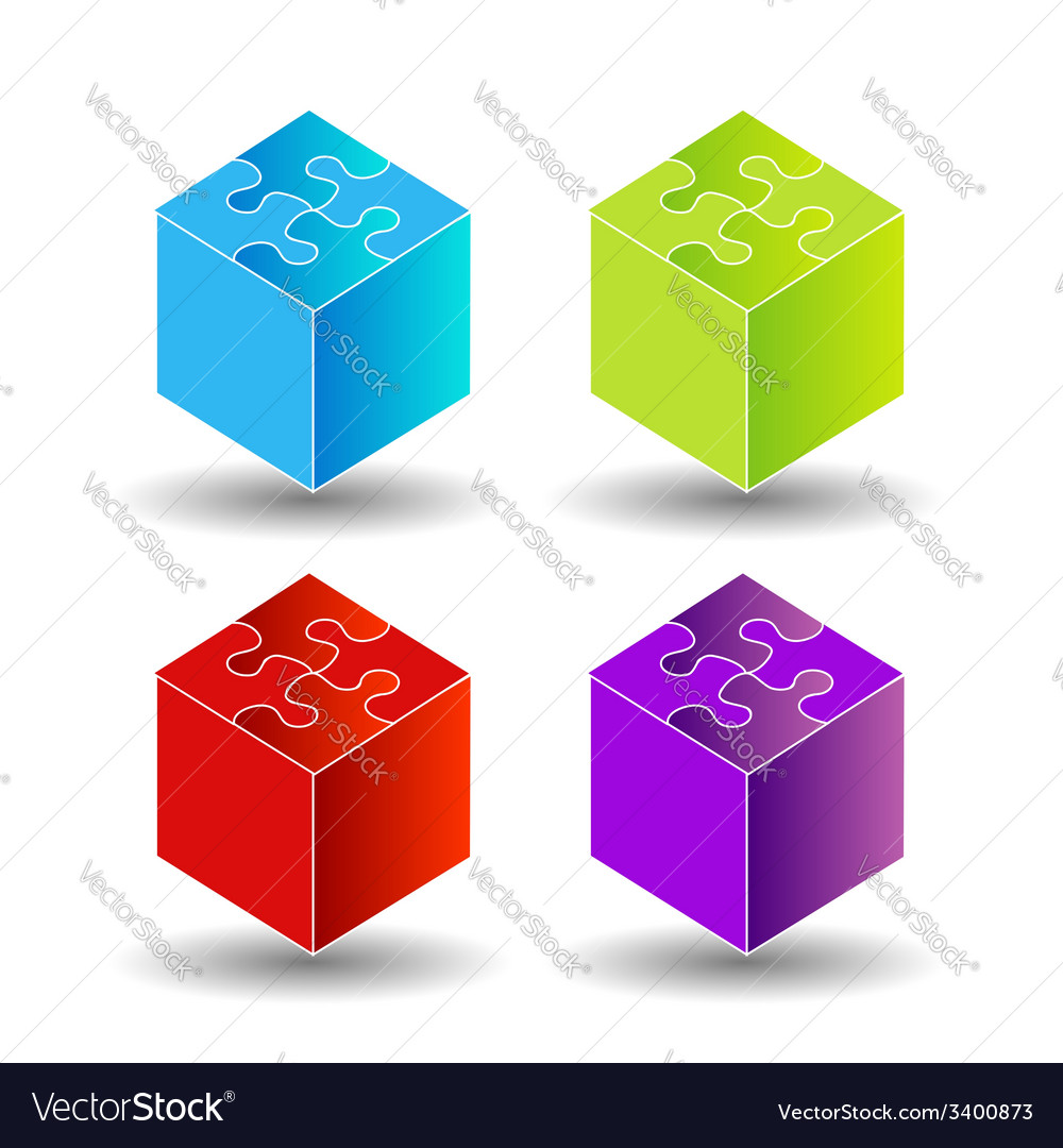 3d boxes with puzzle roof vector