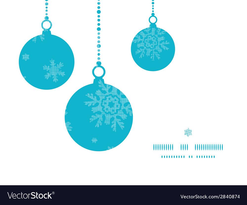 Christmas ornaments frame blue snowflakes textile vector