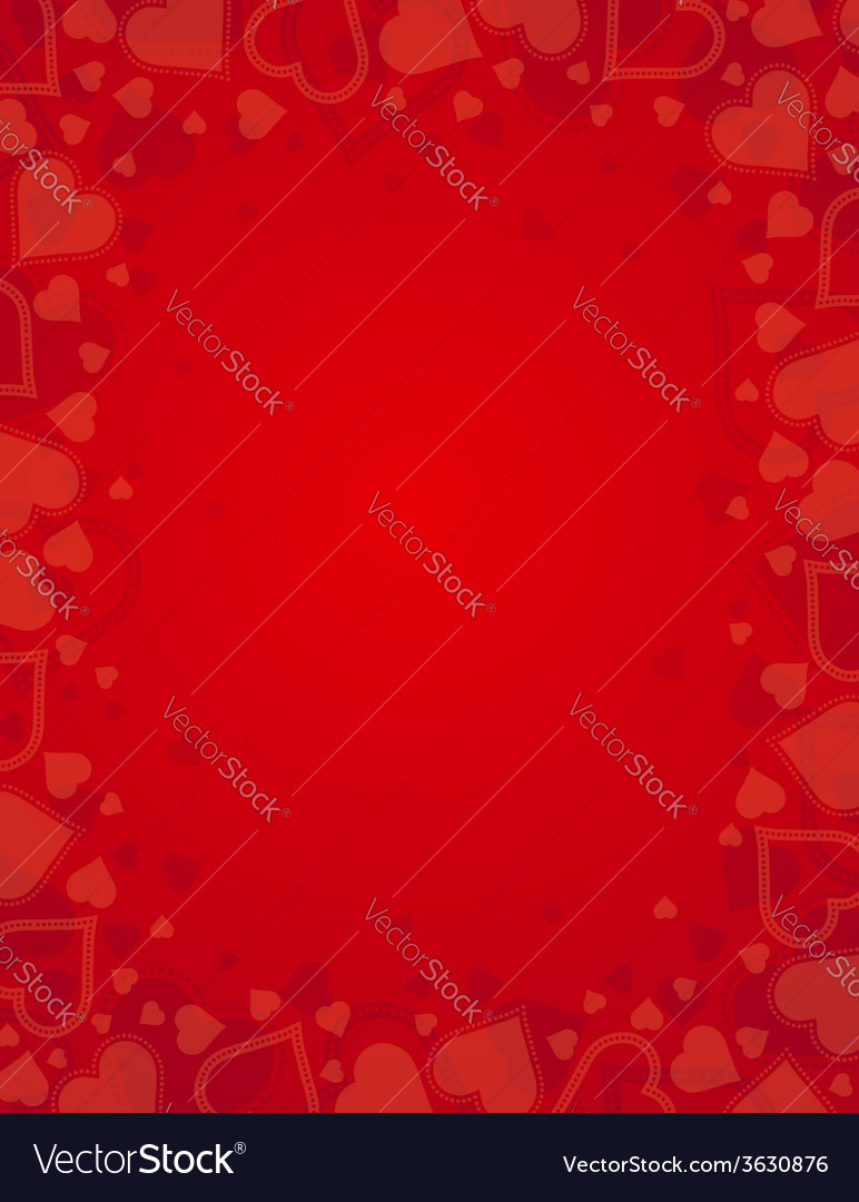 Valentine red background with frame of hearts vector