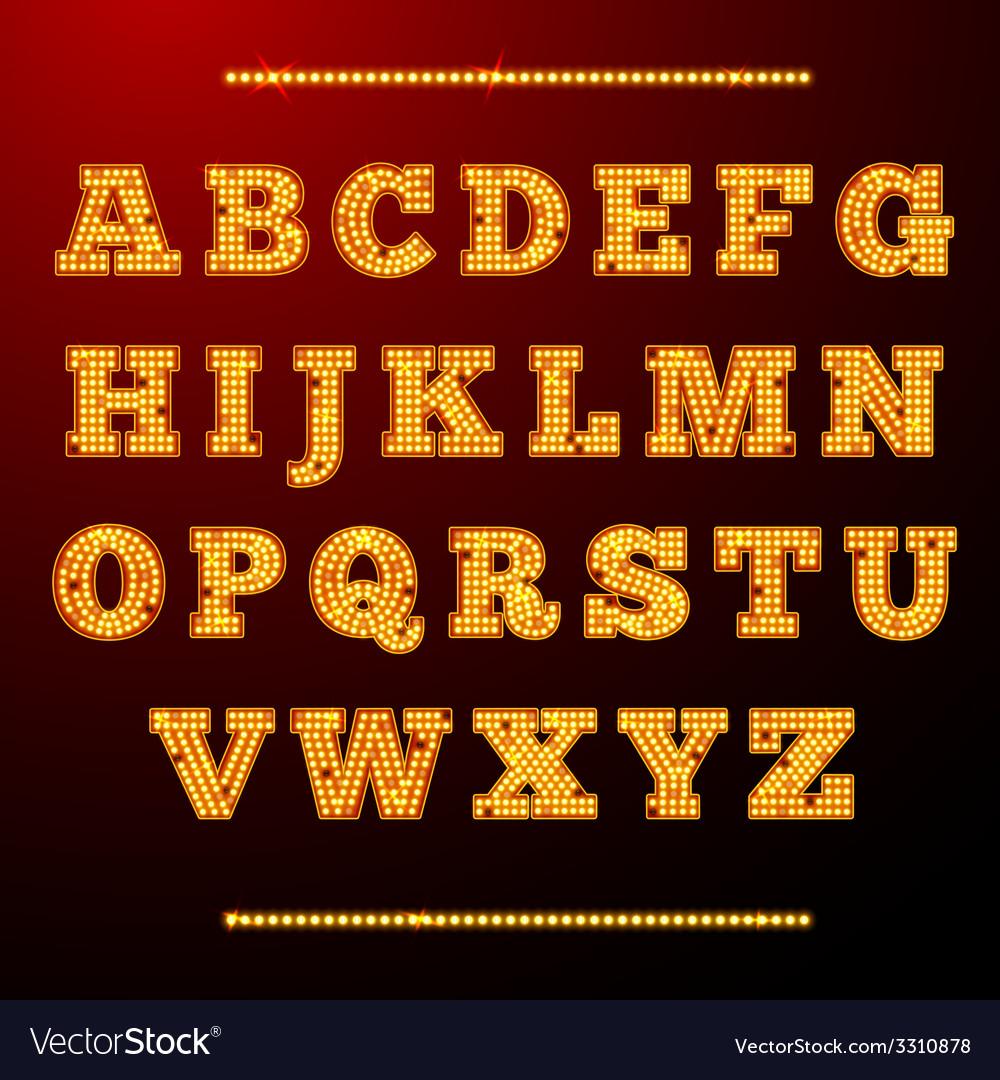 Lamp light alphabet vector