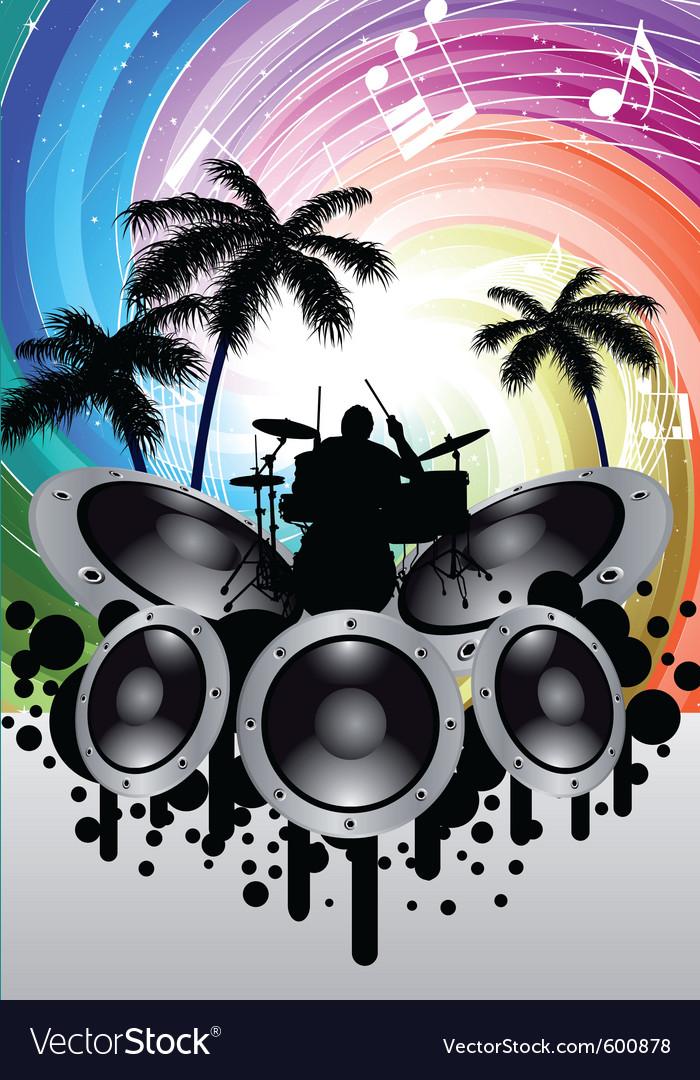 Rock group drummer vector