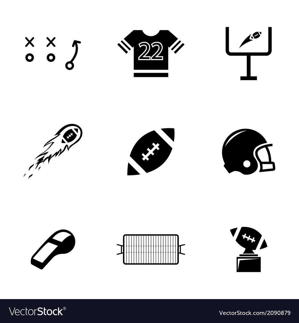 Black football icons set vector