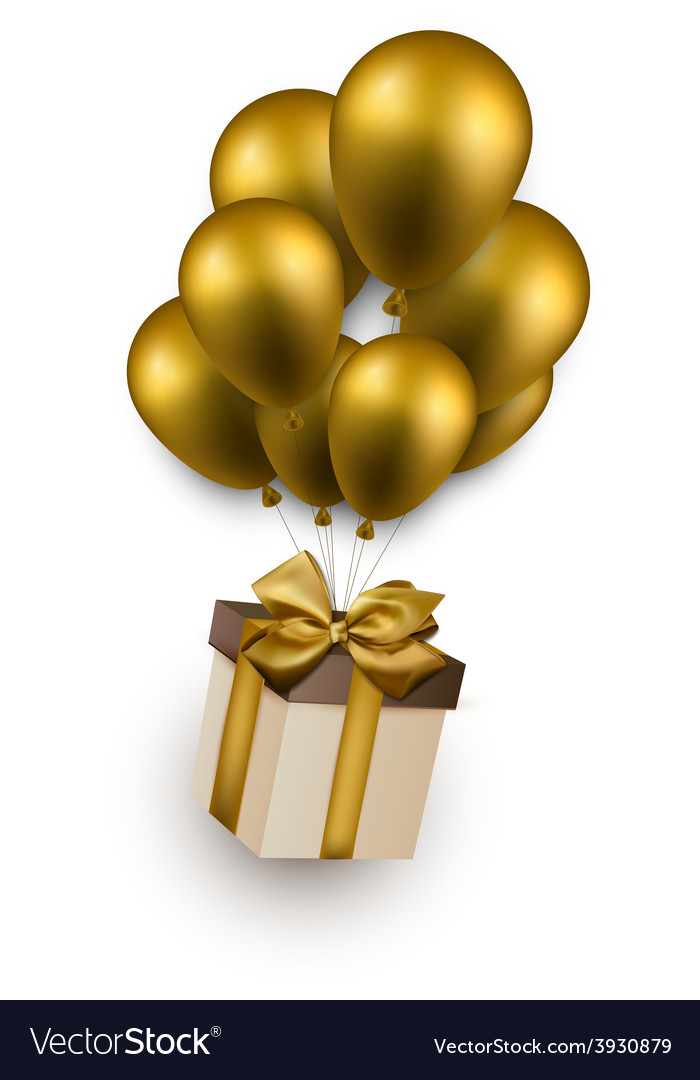 Gift box on golden balloons vector