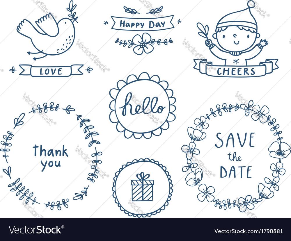 Decorative graphic set vector