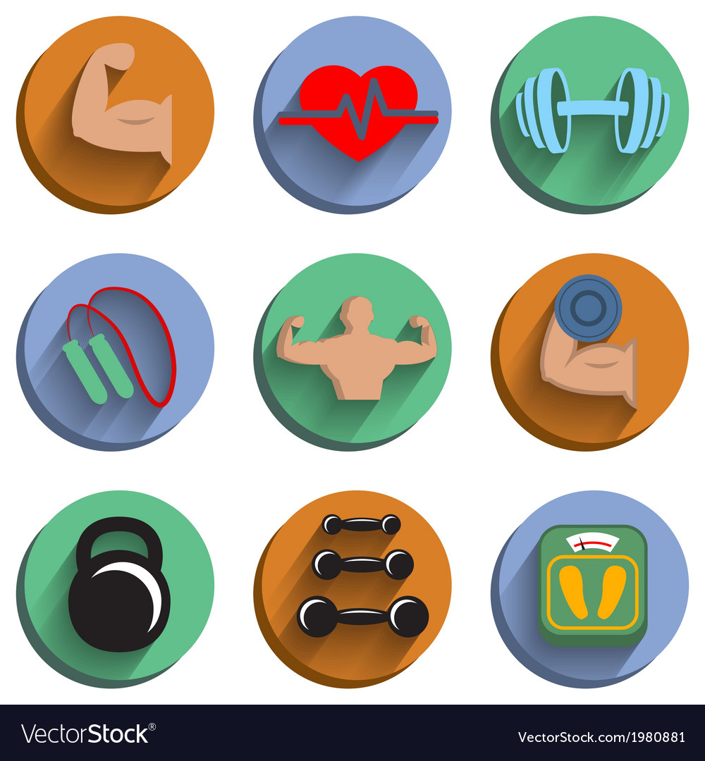Fitness bodybuilding sport icons set vector