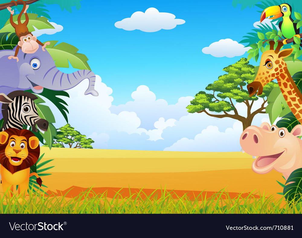 Funny animal cartoon vector