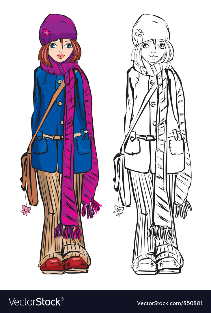 Winter cute girl dressing stripped scarf vector