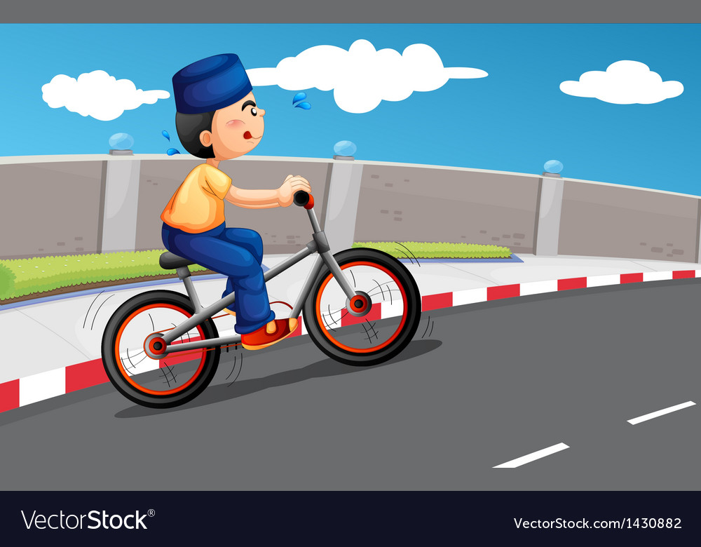 A male muslim biking vector