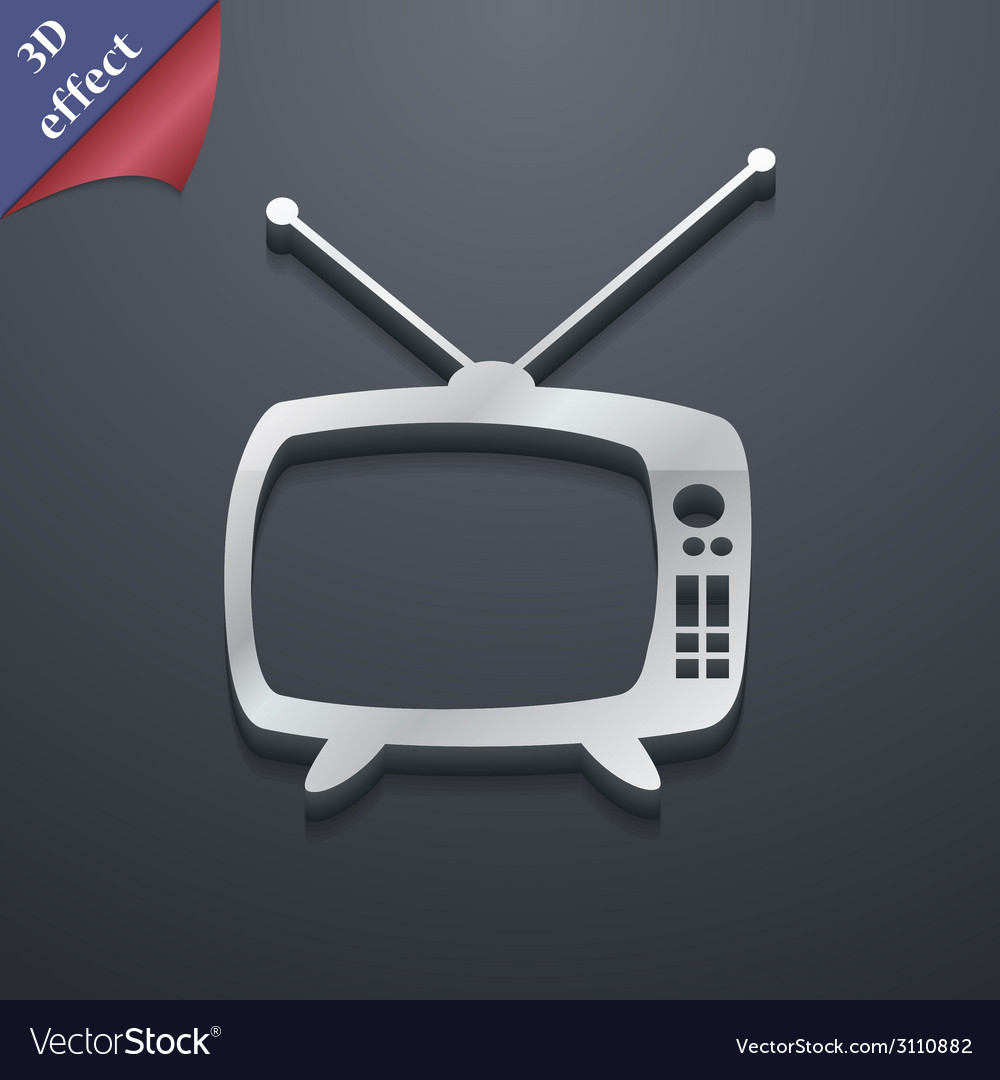 Retro tv mode icon symbol 3d style trendy modern vector