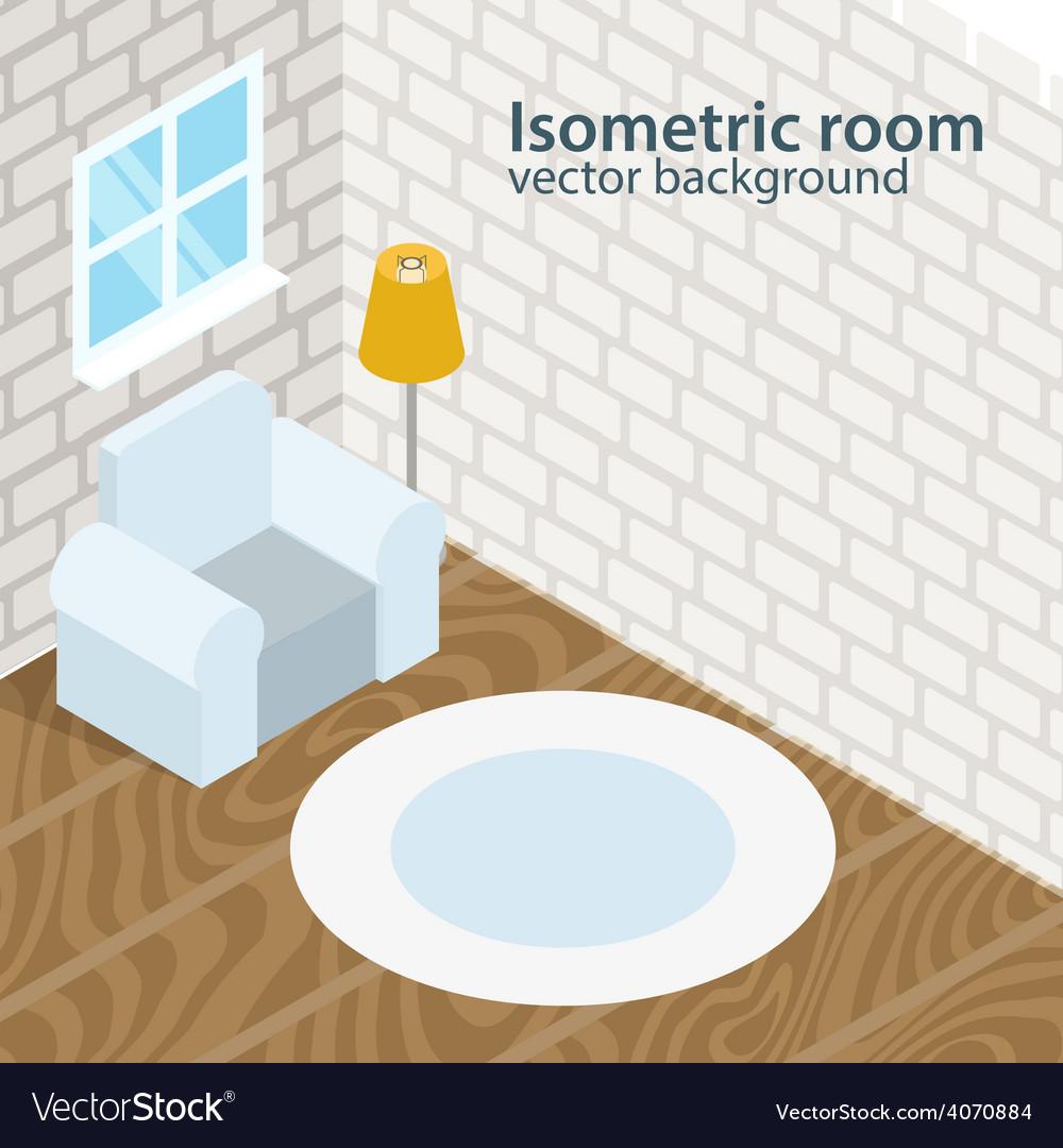 Isometric room background vector